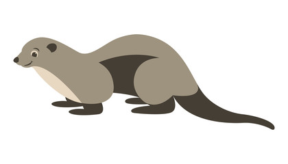 cartoon otter, vector illustration,flat style,profile