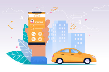 Taxi Mobile Service. Smartphone Flat Application.