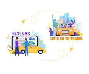 Rent Car for Travel Banner. Summer Journey. Flat