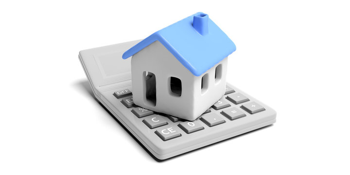 House model and calculator isolated against white background. 3d illustration