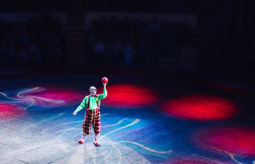 Performance of a Clown with a ball at the Circus. Wall mural