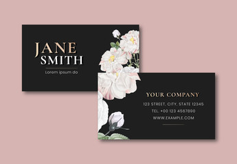 Business Card Layout with Floral Illustration