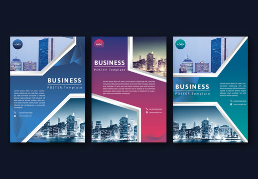 Business Flyer Layouts with Geometric Photo Placeholders