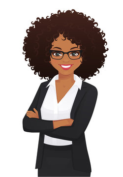 Portrait of elegant business woman with arms crossed isolated vector illustration