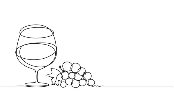 Glass of wine and a bunch of grapes. Drawing by a continuous line.