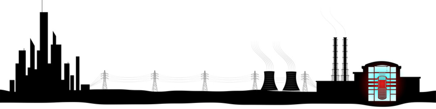 Black silhouette of nuclear power plant and megalopolis. Generation and transmission of electricity. Radiation and danger associated with it.