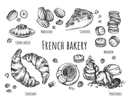 Set of fresh baked french sweet desserts