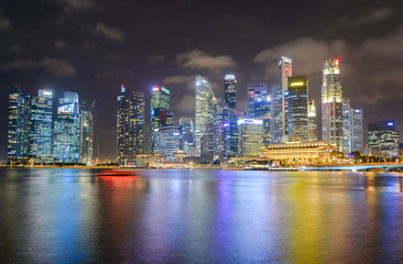 Fototapete - Illuminated  Singapore Downtown Core skyline
