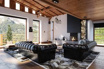 Gemütliches Wohnzimmer Interieur im skandinavischen Stil