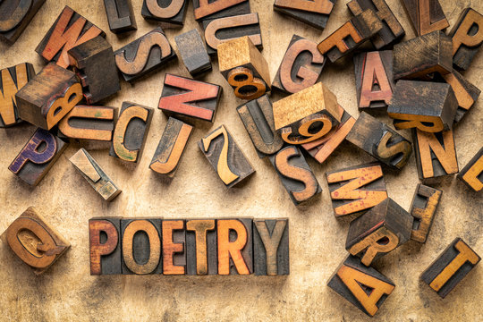 poetry word abstract in wood type