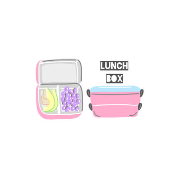 Closed and open pink lunchboxes. Lunch box with food. Hand drawn containers for snack. Cute design. Isolated objects. It can be used for label, advertising, package, banner. Vector illustration, eps10