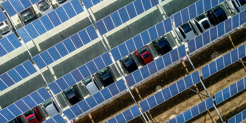 Solar photovoltaic panel for aerial open-air car parking lot