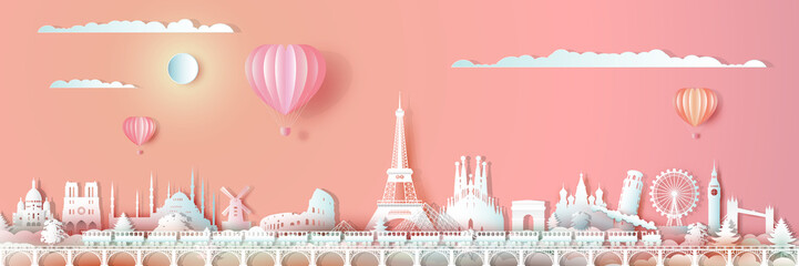 Wall Mural - Traveling Europe landmarks of world with train and ballon.