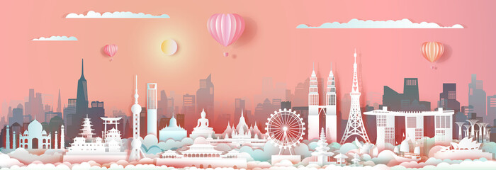 Wall Mural - Travel landmark Asia with cityscape skyline and asean tourism.