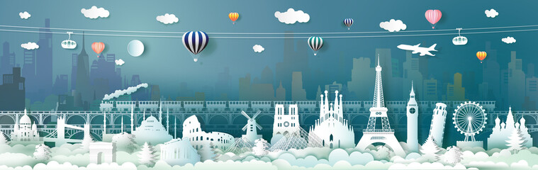 Fotomurales - Travel landmarks of Europe with train, balloon.