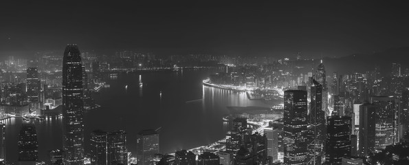 Wall Mural - Hong Kong city view from The Peak. Black and white color