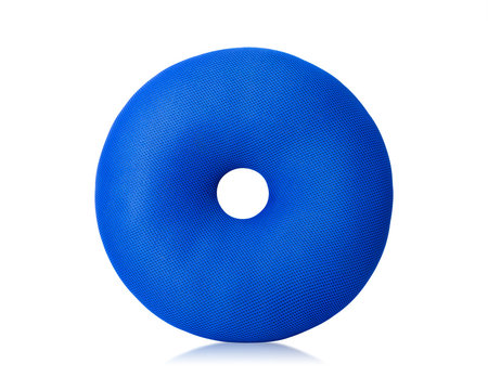 Blue Pillow with donuts shape isolated on white background. Floor pillows in round shape. ( Clipping path )