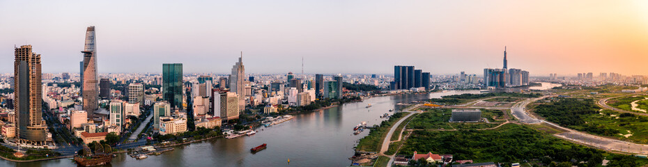 Aerial drone photo - Skyline of Saigon (Ho Chi Minh City) at sunrise.   Vietnam