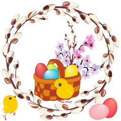 wicker basket with painted eggs , spring bouquet and yellow chickens in a round frame of flowering willow