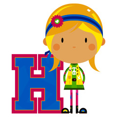 H is for Hippie Educational Illustration