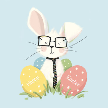 Easter bunny with a tie