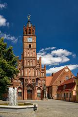 """Der denkmalgeschützte """"Altstädtischer Markt"""" in Brandenburg an der Havel mit Rathaus, Roland, Ordananzhaus, Inspektorhaus und Brunnen"""