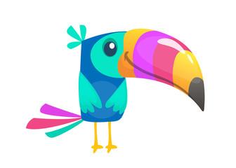 Funny toucan cartoon. Vector bird illustration