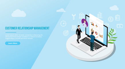 crm isometric customer relationship management concept for website template landing homepage - vector