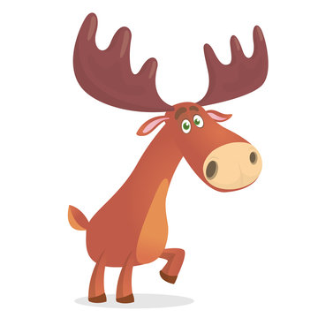 Cute deer. Cartoon comic style forest animal character. Reindeer male mascot. Zoo and wild animal vector illustration