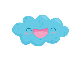 Smiling cloud on white background. Vector illustration.