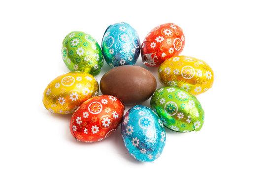 chocolate eggs isolated
