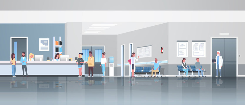 mix race patients standing line queue at hospital reception desk waiting hall doctors consultation healthcare concept medical clinic interior full length horizontal banner flat