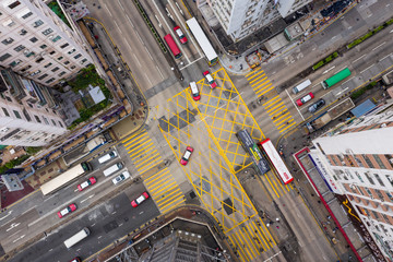 Wall Mural - Top view of Hong Kong traffic road intersection in city
