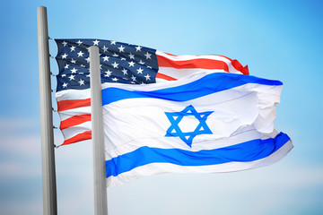 Flags of Israel and the USA Fototapete
