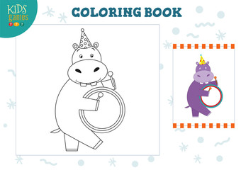 Copy and color picture vector illustration, exercise. Funny cartoon hippo with drum