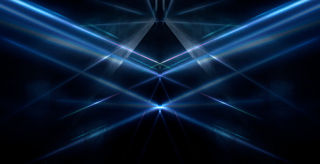 Fotomurales - Tunnel in blue neon light, underground passage. Abstract blue background. Background of an empty black corridor with neon blue light. Abstract background with lines and glow, rays and symmetrical refl