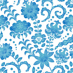 Seamless pattern of blue flowers on a white background, an ornament in the Dutch style, Delft, Gzhel, Japanese porcelain, background for different designs: dishes, fabrics, etc. Vector