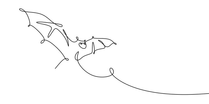 bat one line drawing vector illustration