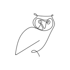 Wall Murals Owls cartoon drawing a continuous line of owls with a simple design.