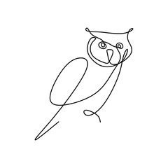 Fotobehang Uilen cartoon drawing a continuous line of owls with a simple design.