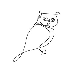 Foto op Aluminium Uilen cartoon drawing a continuous line of owls with a simple design.