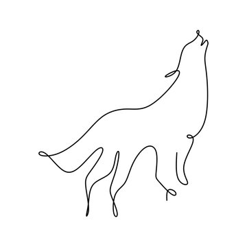 continuous line drawing of wolf animals with a simple design.