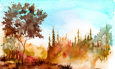 Watercolor painting, picture, landscape - summer, autumn forest, nature, tree.  autumn, summer trees, fir, pine,  sun, blue sky. burgundy, red tree on a hill with grass, plants. Country landscape