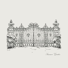 vector illustration of a vintage hand-made forged gates
