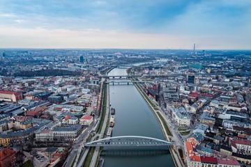 Autocollant pour porte Cracovie Aerial drone view on bridge over Vistula river in Cracow.