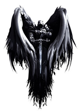 Mystical angel in hood and armor with big black wings and crystal sword