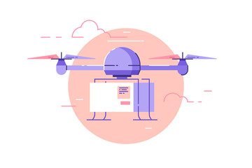 Drone delivery concept vector illustration. Drone is flying in the sky and carrying a box to customer. Wall mural