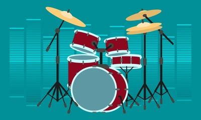 Drummer instrument concept banner. Flat illustration of drummer instrument vector concept banner for web design