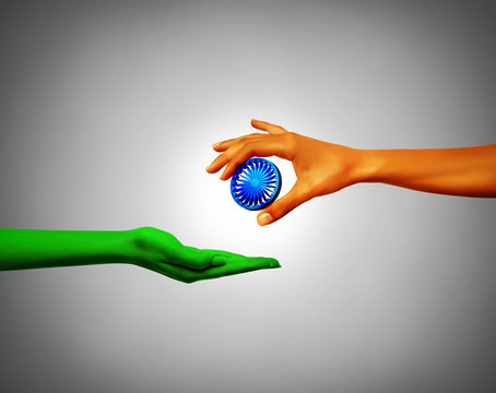 Ashoka chakra holding by hands