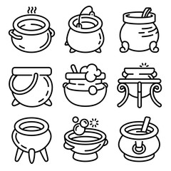 Cauldron icons set. Outline set of cauldron vector icons for web design isolated on white background